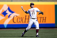 Dylan Becker (27) of the Missouri State Bears throws a ball back into the infield during a game against the Southern Illinois University- Edwardsville Cougars at  Hammons Field on March 10, 2012 in Springfield, Missouri. (David Welker / Four Seam Images)