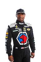 Feb 8, 2017; Pomona, CA, USA; NHRA top fuel driver Antron Brown poses for a portrait during media day at Auto Club Raceway at Pomona. Mandatory Credit: Mark J. Rebilas-USA TODAY Sports