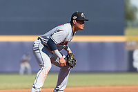 Glendale Desert Dogs third baseman Yu Chang (9), of the Cleveland Indians organization, during an Arizona Fall League game against the Peoria Javelinas at Peoria Sports Complex on October 22, 2018 in Peoria, Arizona. Glendale defeated Peoria 6-2. (Zachary Lucy/Four Seam Images)