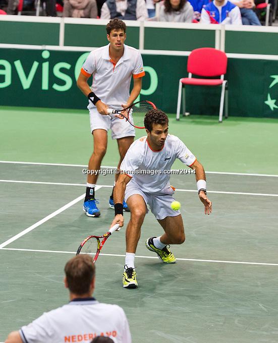 01-02-14,Czech Republic, Ostrava, Cez Arena, Davis Cup Czech Republic vs Netherlands, ,  Haase/Rojer(R)(NED)   <br /> Photo: Henk Koster