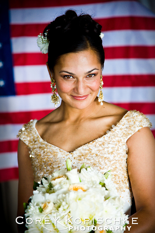 US airforce JAG pilot bride moments before walking down the aisle in Steamboat Springs Colorado.