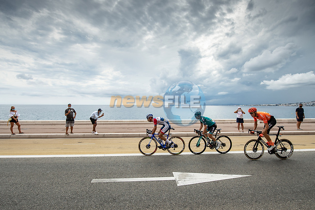 The early breakaway featuring Fabien Grellier (FRA) Total Direct Energie, Cyril Gautier (FRA) B&B Hotels-Vital Concept and Michael Schar (SUI) CCC Team during Stage 1 of Tour de France 2020, running 156km from Nice Moyen Pays to Nice, France. 29th August 2020.<br /> Picture: ASO/Alex Broadway | Cyclefile<br /> All photos usage must carry mandatory copyright credit (© Cyclefile | ASO/Alex Broadway)