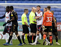 Bolton Wanderers' Ryan Delaney looks dejected as he bumps fists with Oldham Athletic's goalkeeper Laurence Bilboe at the end of the match<br /> <br /> Photographer Andrew Kearns/CameraSport<br /> <br /> The EFL Sky Bet League Two - Bolton Wanderers v Oldham Athletic - Saturday 17th October 2020 - University of Bolton Stadium - Bolton<br /> <br /> World Copyright © 2020 CameraSport. All rights reserved. 43 Linden Ave. Countesthorpe. Leicester. England. LE8 5PG - Tel: +44 (0) 116 277 4147 - admin@camerasport.com - www.camerasport.com