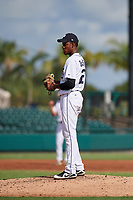 Detroit Tigers pitcher Angel De Jesus (22) looks in for the sign during a Florida Instructional League game against the Pittsburgh Pirates on October 6, 2018 at Joker Marchant Stadium in Lakeland, Florida.  (Mike Janes/Four Seam Images)