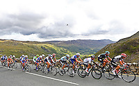 Picture by Alex Whitehead/SWpix.com - 18/09/2013 - Cycling - Tour of Britain, Stage 4 - Stoke to Llanberis - Omega Pharma-Quick Step's Mark Cavendish (third from right) on his way to winning Stage 4 at Pen-y-Pass near the finish in Llanberis, Wales.
