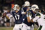 Nevada's Cody Fajardo (17) attempts a pass against Colorado State during the first half of an NCAA college football game in Reno, Nev., on Saturday, Oct. 11, 2014. (AP Photo/Cathleen Allison)