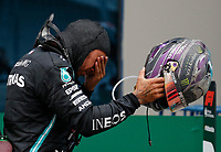 15th November 2020; Istanbul Park, Istanbul, Turkey; FIA Formula One World Championship 2020, Grand Prix of Turkey, Race Day;  44 Lewis Hamilton GBR, Mercedes-AMG Petronas Formula One Team celebrates winning the F1 World Drivers Championship  and becomes emotional in parc ferme