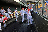 Second baseman Yoan Moncada of the Greenville Drive gives a thumbs-up to students in a pregame show before a game against the Lexington Legends on Tuesday, May 19, 2015, at Fluor Field at the West End in Greenville, South Carolina. The Cuban-born 19-year-old Red Sox signee has been ranked the No. 1 international prospect in baseball by Baseball America. (Tom Priddy/Four Seam Images)