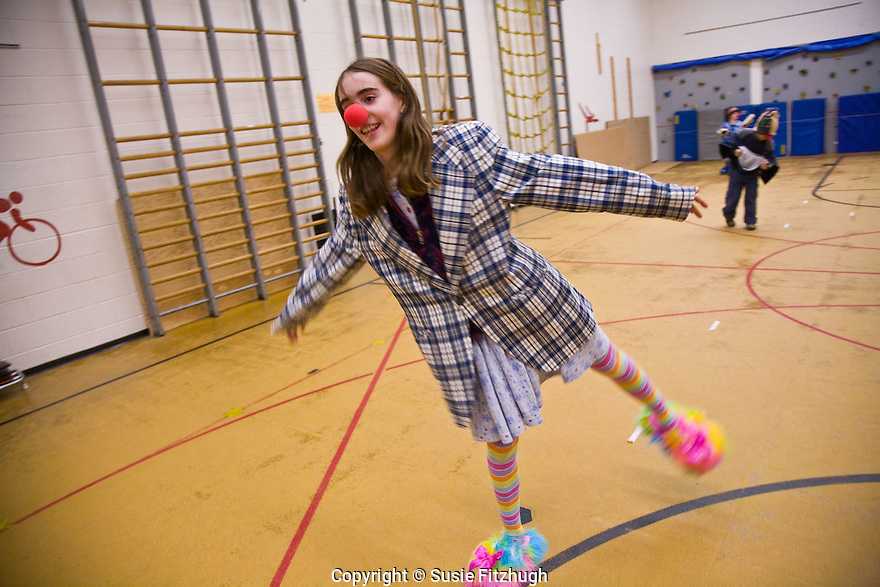 One of David Crellin's elementary school students is learning the art of being a clown.