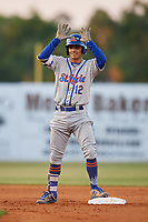 St. Lucie Mets shortstop Andres Gimenez (12) on second base during a game against the Florida Fire Frogs on April 19, 2018 at Osceola County Stadium in Kissimmee, Florida.  St. Lucie defeated Florida 3-2.  (Mike Janes/Four Seam Images)