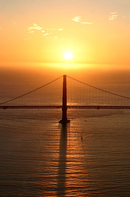 October 29, 2005; San Francisco, CA, USA; Aerial view of the Pacific ocean and the south tower of the Golden Gate Bridge at sunset in San Francisco, CA. Photo by: Phillip Carter