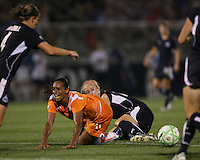 Becky Sauerbrunn#22 of the Washington Freedom crashes into Rosana#11 of Sky Blue FC during a WPS match at Maryland Soccerplex on August 8,2009 in Boyds, Maryland. Freedom won 3-1