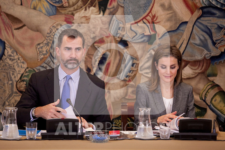 Prince Felipe of Spain and Princess Letizia of Spain attend a meeting with member of the Prince of Girona Foundation at Zarzuela Palace in Madrid, Spain. December 11, 2013. (ALTERPHOTOS/Victor Blanco)