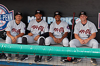Tri-City ValleyCats Jairo Lopez (17), Yeuris Ramirez (4), Juan Ramirez (5), and Preston Pavlica (31) before a NY-Penn League game against the Brooklyn Cyclones on August 17, 2019 at MCU Park in Brooklyn, New York.  Brooklyn defeated Tri-City 2-1.  (Mike Janes/Four Seam Images)