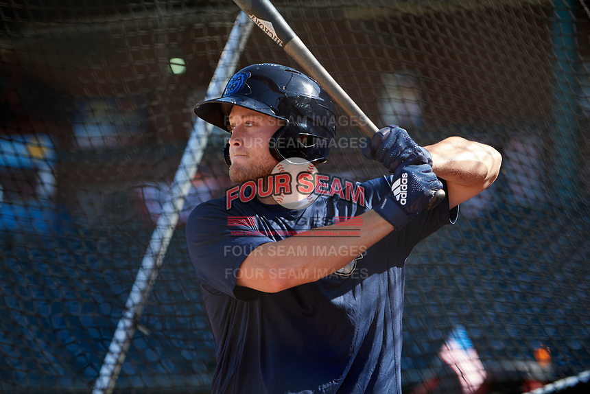 Mobile BayBears center fielder Brennon Lund (8) takes batting practice before a game against the Jacksonville Jumbo Shrimp on April 14, 2018 at Baseball Grounds of Jacksonville in Jacksonville, Florida.  Mobile defeated Jacksonville 13-3.  (Mike Janes/Four Seam Images)