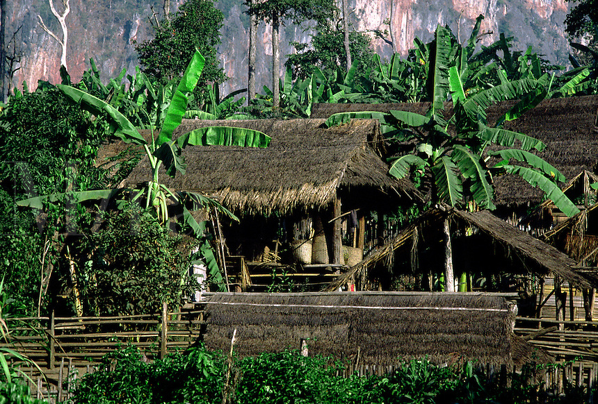 PALONG VILLAGE houses - BURMESE TRIBE living in NORTHERN THAILAND.
