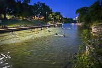 Baron Springs Pool, night swimming, full moon swim, dark, dusk, beloved, spring-fed pool, lifeguards, open late night,