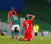 27th March 2021; Aviva Stadium, Dublin, Leinster, Ireland; 2022 World Cup Qualifier, Ireland versus Luxembourg; At the full time whistle Maxime Chanot of Luxembourg gets on his knees to celebrate their 0-1 win