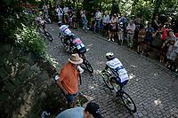 GC leader Sonny Colbrelli (ITA/Bahrain - Victorious) up the infamous Muur van Geraardbergen / Kapelmuur<br /> <br /> 17thBenelux Tour 2021 (2.UWT)<br /> (Final) Stage 7: from Namur to Geraardsbergen (178km)<br /> <br /> ©kramon