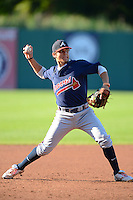 Michael Chavis (1) of Sprayberry High School in Marietta, Georgia playing for the Atlanta Braves scout team during the East Coast Pro Showcase on August 1, 2013 at NBT Bank Stadium in Syracuse, New York.  (Mike Janes/Four Seam Images)