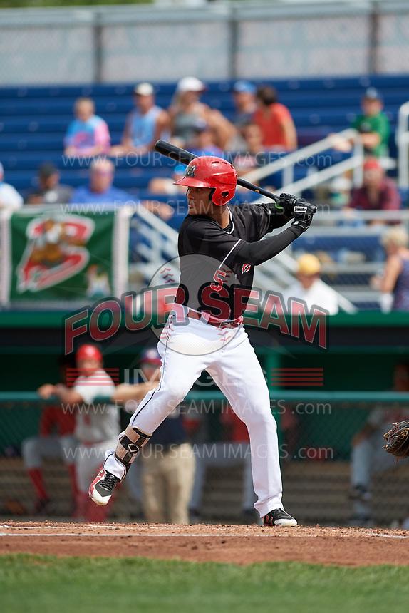 Batavia Muckdogs designated hitter Ricardo Cespedes (5) at bat during a game against the Auburn Doubledays on September 1, 2018 at Dwyer Stadium in Batavia, New York.  Auburn defeated Batavia 10-5.  (Mike Janes/Four Seam Images)