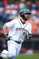 Akron RubberDucks designated hitter Anthony Gallas (30) runs to first during a game against the New Britain Rock Cats on May 21, 2015 at Canal Park in Akron, Ohio.  Akron defeated New Britain 4-2.  (Mike Janes/Four Seam Images)