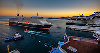 Fine Art Landscape Photograph of the Queen Elizabeth cruise liner as it arrives into the port of Kusadasi Turkey.