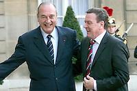 Rencontre quadripartite entre Jacques Chirac, Gerhard Schroeder au palais de l' Elysee. # GERHARD SCHROEDER GERHARD SCHRODER GERHARD SCHRODER