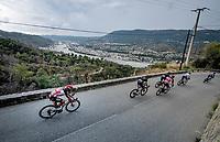 peloton descending<br /> <br /> 7th La Course by Tour de France 2020 <br /> 1 day race from Nice to Nice (96km)<br /> <br /> ©kramon