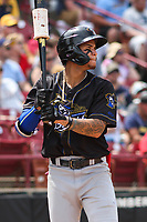 Quad Cities River Bandits shortstop Jeison Guzman (17) waits on deck during a game against the Wisconsin Timber Rattlers on July 11, 2021 at Neuroscience Group Field at Fox Cities Stadium in Grand Chute, Wisconsin.  (Brad Krause/Four Seam Images)