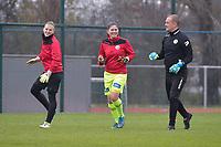 Zulte Waregem's goalkeeper coach Giovanni Vandenbussche (R) with Zulte Waregem's goalkeeper Ianthe Meersschaert (M) and Zulte Waregem's Jana Van Den Berghe (L) pictured during a female soccer game between SV Zulte - Waregem and White Star Woluwe on the 9th matchday of the 2020 - 2021 season of Belgian Scooore Women s SuperLeague , saturday 12 th of December 2020  in Waregem , Belgium . PHOTO SPORTPIX.BE | SPP | DIRK VUYLSTEKE