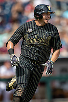 Vanderbilt Commodores outfielder JJ Bleday (51) runs to first base against the Mississippi State Bulldogs in the NCAA College World Series on June 19, 2019 at TD Ameritrade Park in Omaha, Nebraska. Vanderbilt defeated Mississippi State 6-3. (Andrew Woolley/Four Seam Images)
