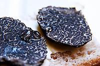 A slice of fresh Perigord truffles on a piece of bread with a drop of oil Truffiere de la Bergerie (Truffière) truffles farm Ste Foy de Longas Dordogne France