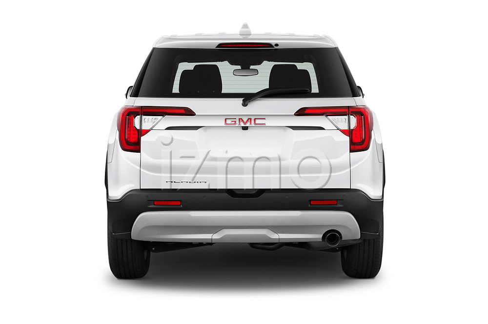 Straight rear view of 2020 GMC Acadia SLE 5 Door SUV Rear View  stock images