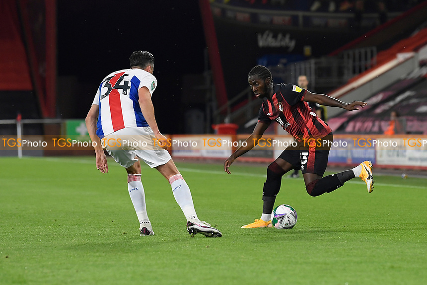 Jordan Zemura of AFC Bournemouth right takes on Martin Kelly of Crystal Palacelduring AFC Bournemouth vs Crystal Palace, Carabao Cup Football at the Vitality Stadium on 15th September 2020