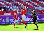 Fussball - 3.Bundesliga - Saison 2020/21<br /> Kaiserslautern -  Fritz-Walter-Stadion 03.04.2021<br /> 1. FC Kaiserslautern (fck)  - FC Halle (hal) 3:1<br /> Marvin SENGER (fck), li - Michael EBERWEIN (hal)<br /> <br /> Foto © PIX-Sportfotos *** Foto ist honorarpflichtig! *** Auf Anfrage in hoeherer Qualitaet/Aufloesung. Belegexemplar erbeten. Veroeffentlichung ausschliesslich fuer journalistisch-publizistische Zwecke. For editorial use only. DFL regulations prohibit any use of photographs as image sequences and/or quasi-video.