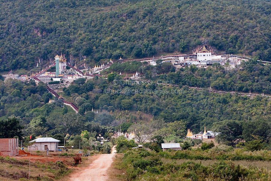 Myanmar, Burma.  Shwe Oo Min Pagoda on Hillside, Pindaya, Shan State.