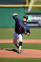 Cal State Fullerton Titans pitcher Kyle Murray (17) delivers a pitch during a game against the Alabama State Hornets on February 14, 2015 at Bright House Field in Clearwater, Florida.  Alabama State defeated Cal State Fullerton 3-2.  (Mike Janes/Four Seam Images)