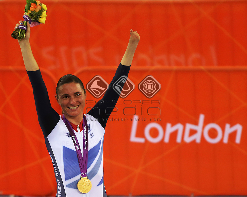 Sarah Storey on the podium after winning the Women's Individual C5 Pursuit.<br /> Track Cycling, Velodrome, Olympic Park (Thursday 29th Aug)<br /> Paralympics - Summer / London 2012<br /> London England 29 Aug - 9 Sept <br /> © Sport the library/Joseph Johnson