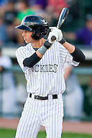 Max White (18) of the Grand Junction Rockies at bat against the Billings Mustangs at Suplizio Field on July 24, 2012 in Grand Junction, Colorado.  The Rockies defeated the Mustangs 4-3.  (Brian Westerholt/Four Seam Images)