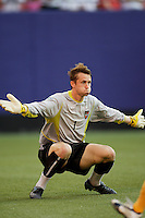 The MetroStars' goalkeeper Jonny Walker about to make a save at close range. The NY/NJ MetroStars defeated the LA Galaxy 3 to 0 during MLS action at Giant's Stadium, East Rutherford, NJ, on August 8, 2004.