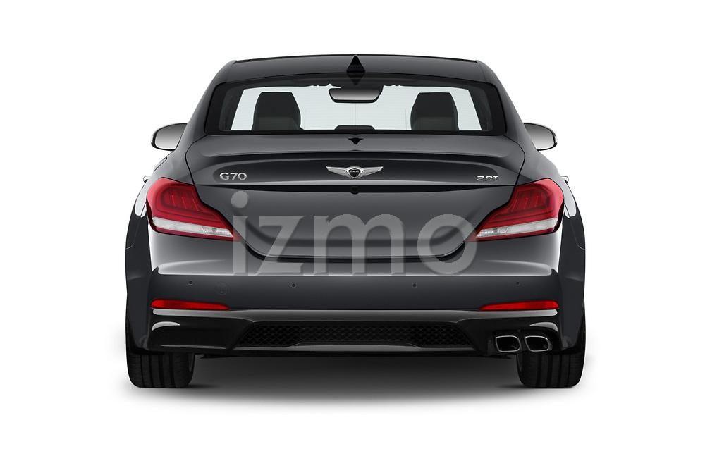 Straight rear view of 2020 Genesis G70 Prestige 4 Door Sedan Rear View  stock images