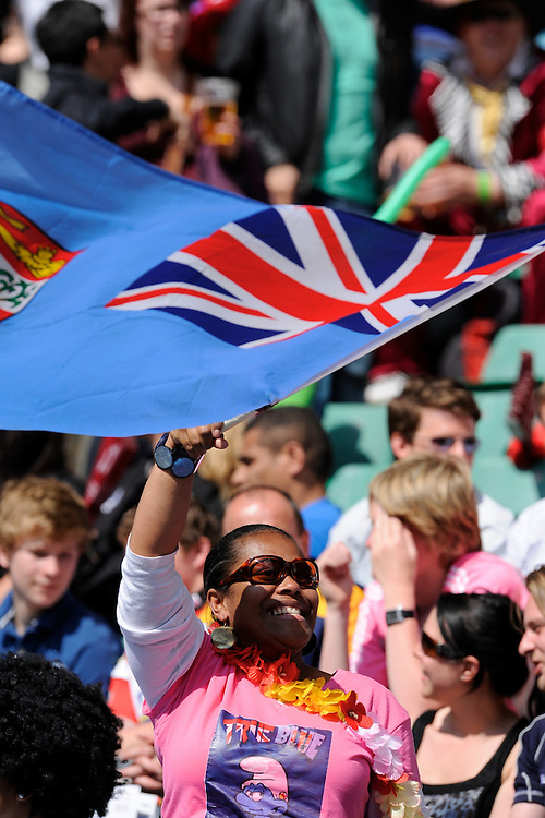 A Fijian fan enjoying the rugby and the sunshine during the iRB Marriott London Sevens at Twickenham on Sunday 13th May 2012 (Photo by Rob Munro)