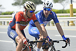 Race leader Elia Viviani (ITA) Quick-Step Floors chats with Vincenzo Nibali (ITA) Bahrain-Merida during Stage 5 The Meraas Stage final stage of the Dubai Tour 2018 the Dubai Tour's 5th edition, running 132km from Skydive Dubai to City Walk, Dubai, United Arab Emirates. 10th February 2018.<br /> Picture: LaPresse/Fabio Ferrari | Cyclefile<br /> <br /> <br /> All photos usage must carry mandatory copyright credit (© Cyclefile | LaPresse/Fabio Ferrari)
