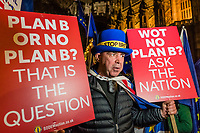 LONDON, ENGLAND - JANUARY 15: Anti Brexit pro Europe demonstrators celebrate the result as the Withdrawal Agreement is voted down as part of the People's Vote coverage of the vote in Westminster on January 15, 2019 in London, England. Theresa May's Brexit deal finally reaches the House of Commons this evening and MPs will begin voting on it at 7pm. The Prime Minister has consistently said her's is the only deal that Brussels will entertain and urged support from Parliament to avoid the UK crashing out of the European Union with no deal. Photo Adamo Di Loreto