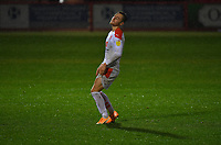 Blackpool's Dan Kemp misses his penalty which gave the result to Accrington Stanley<br /> <br /> Photographer Dave Howarth/CameraSport<br /> <br /> EFL Trophy Northern Section Group G - Accrington Stanley v Blackpool - Tuesday 6th October 2020 - Crown Ground - Accrington<br />  <br /> World Copyright © 2020 CameraSport. All rights reserved. 43 Linden Ave. Countesthorpe. Leicester. England. LE8 5PG - Tel: +44 (0) 116 277 4147 - admin@camerasport.com - www.camerasport.com