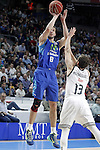 Real Madrid's Sergio Rodriguez (r) and Movistar Estudiantes' Stefan Bircevic during Liga Endesa ACB match.March 29,2015. (ALTERPHOTOS/Acero)