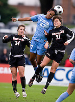 Jessica MacDonald, Molly Dreska. UNC defeated Maryland, 1-0, during the regular season finale at College Park, Maryland.