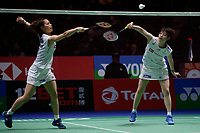 15th March 2020, Arena Birmingham, Birmingham, UK;  Japans Fukushima Yuki and Hirota Sayaka compete during the womens doubles final match against Chinas Du Yue and Li Yinhui at All England Open 2020 badminton tournament in Birmingham