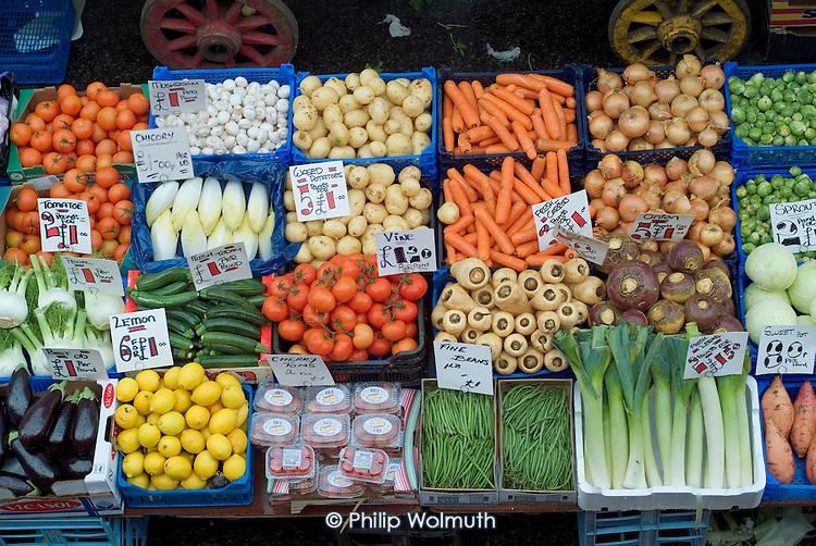 Fresh vegetables on sale at Church Street market in Paddington, London.
